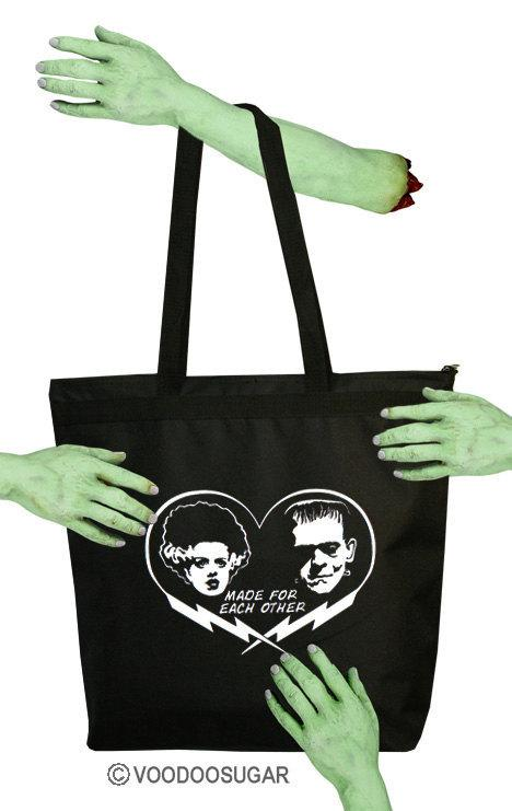 Made for each other bride of frankenstein monster zipper tote bag
