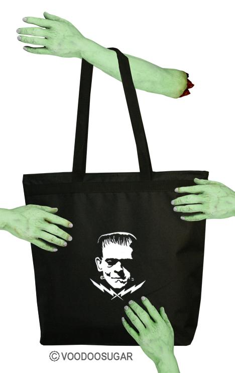 FRANKENSTEIN MONSTER VOODOO SUGAR VOODOOSUGAR CLASSIC HORROR ZIPPER TOTE BAG