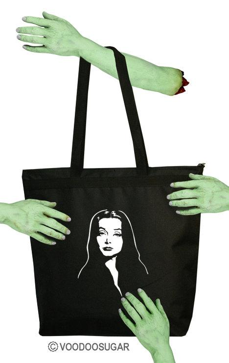 Morticia Addams Family Voodoo Sugar Voodoosugar Zipper Tote Bag