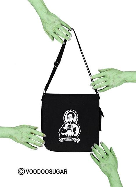 st chrtispher patron st of cowbell messenger bag